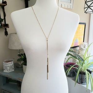 Gold long necklace with crystal beads